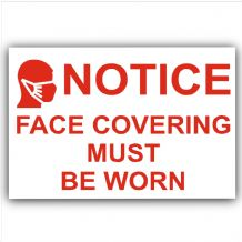1 x RED Sticker Face Covering Must Be Worn Door Shop  Mask Sign Covid-19 Coronavirus